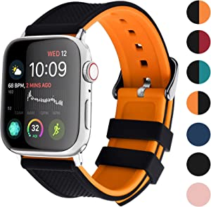 Apple Watch Band Silicone Compatible Apple Watch 42mm 44mm 38mm 40mm, Fullmosa Rainbow Soft Rubber iWatch Band for Apple Watch SE/6/5/4/3/2/1, Black Top/ Pumpkin Orange Bottom 44mm 42mm