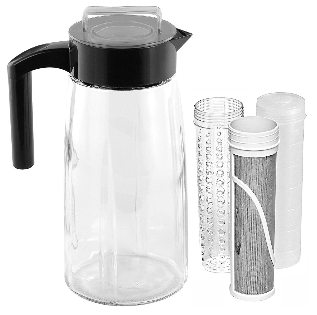 Cooking Upgrades 60oz Glass Cold Brew Coffee Maker and Tea Maker With Ice And Fruit Infuser Inserts Included (Black)