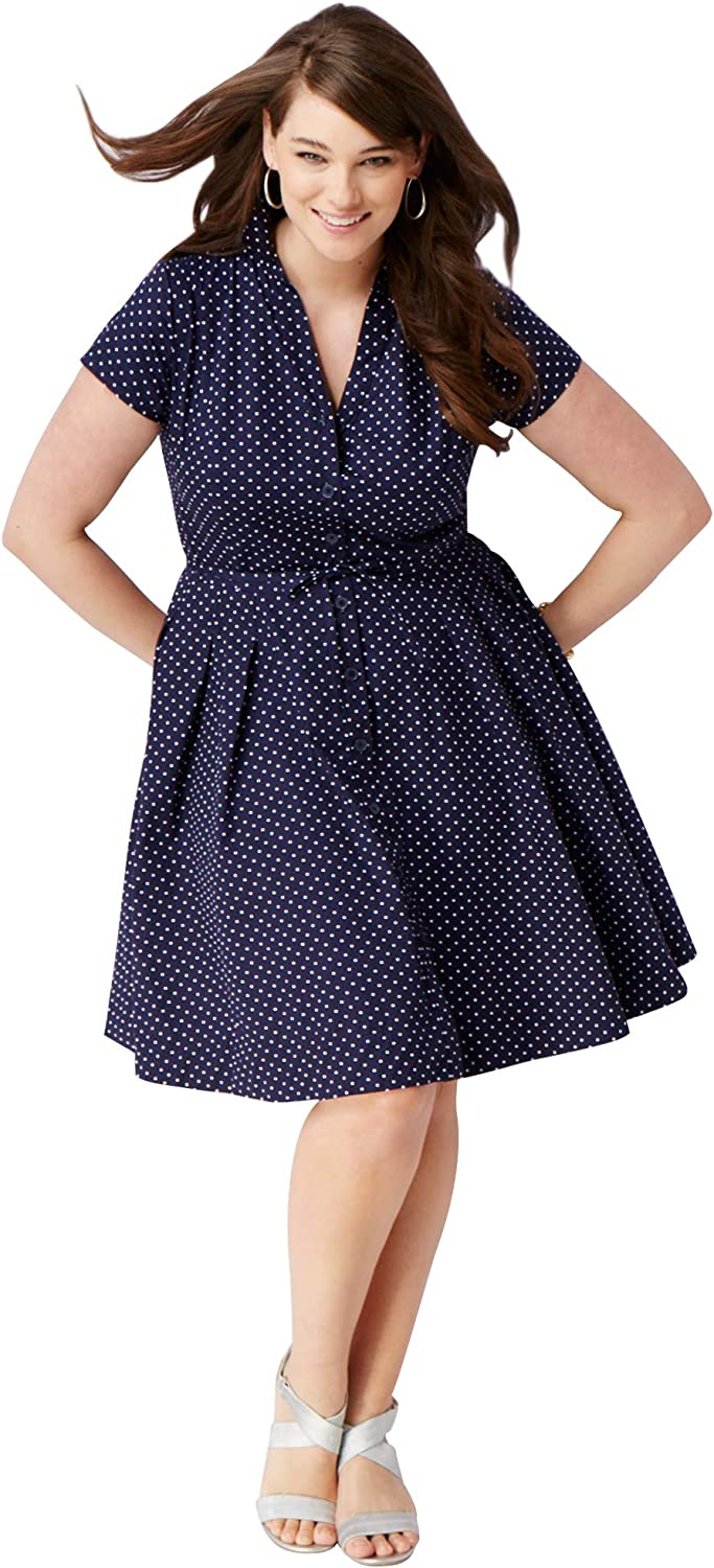 ellos Womens Plus Size Sandy Shirtwaist Dress