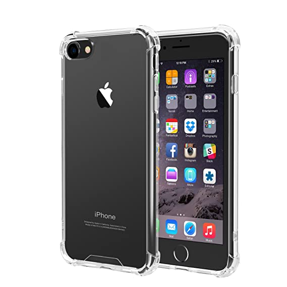 release date 77e44 80f46 iPhone 8, iPhone 7 Case, iXCC Crystal Clear Hard Cover Case [Shock  Absorption] with Soft TPU Bumper for iPhone 8 iPhone 7 (4.7 Inch 2016  Release)- ...