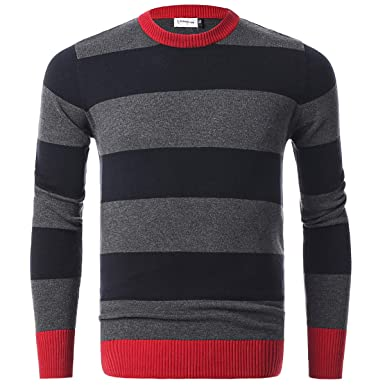 ec3fe67515 Chain Stitch Men's Long Sleeve Striped Pullover Crew Neck Sweater Black  Grey Large