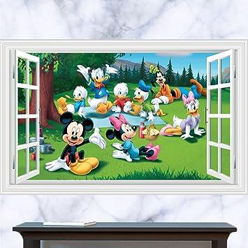 Fange Diy Removable 3d Window View Disney Cartoon Mickey Mouse And Donald Duck Art Mural Vinyl Waterproof Wall Stickers Kids Room Decor Nursery Decal
