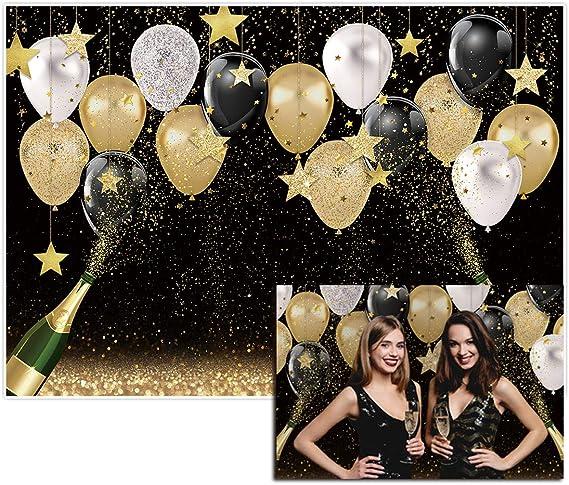 8x6ft Our Little Gentleman White Black Stripe Decoration Golden Glitter Balloon Birthday Party Wallpaper Photo Studio Wedding Background Cloth familyportrait Background Cloth