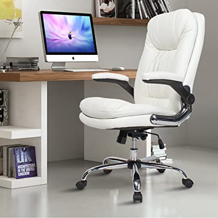 YAMASORO Ergonomic Executive Office Chair High Back PU Leather Computer Desk  Chair With Flip