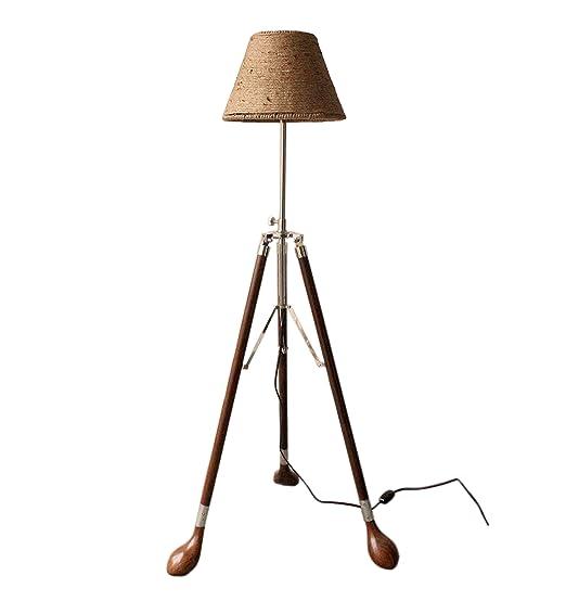 Maritime lámpara de techo, cuerda marrón con de madera ...