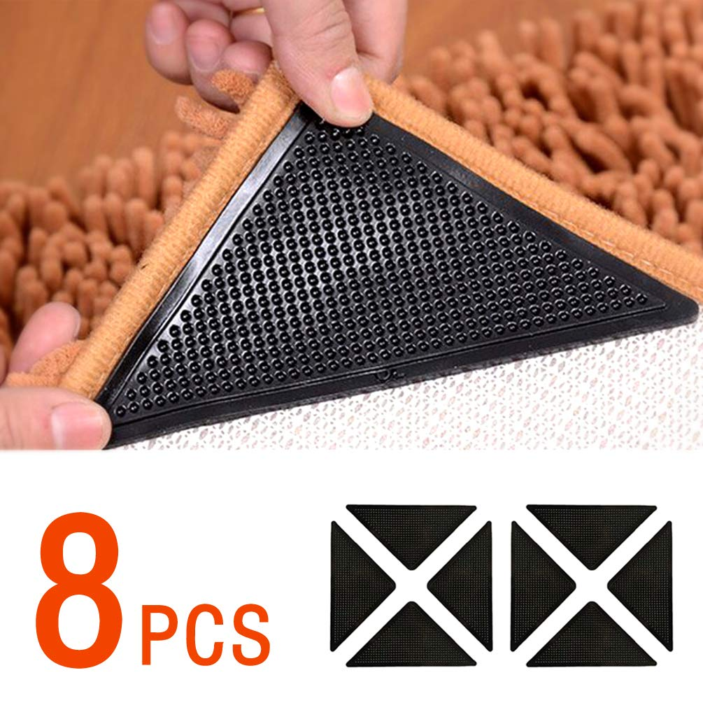 SenMay Rug Grippers for Hardwood Floors, Carpet Gripper for Area Rugs Double Sided Anti Curling Non-Slip Washable and Reusable Pads for Tile Floors, Carpets, Floor Mats, Wall, Black 8 pcs