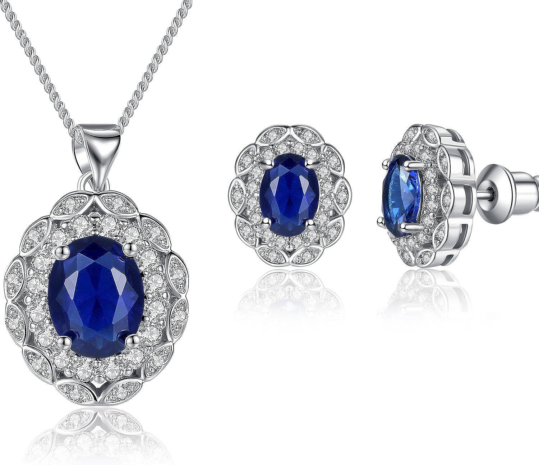 FLORAY Mujer Elegante Ovalada Azul Zafiro Colgante Collar y Pendientes Conjunto de joyas, con Circonita. 1653sbj