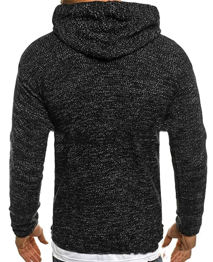 CMCYY Mens Knitted Loose Drawstring Hoodid Ripped Jumper Sweaters