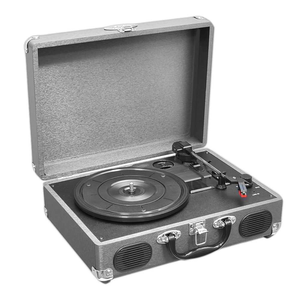 Upgraded Version Pyle Vintage Record Player, Classic Vinyl Player, Turntable, Rechargeable Batteries, MP3 Vinyl, Music Editing Software Included, USB-to-PC Connection, 3 Speed (Grey)