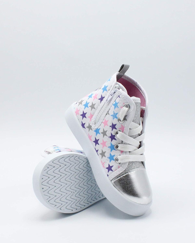 Beverly Hills Polo Club Kids Side Zipper Star Sneaker ,White//Multi,10 Toddler