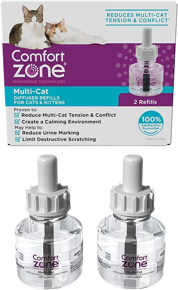 Comfort Zone Cat Calming MultiCat Diffuser Refill, Cat Pheromone Spray, 2 Pack, Original Formula
