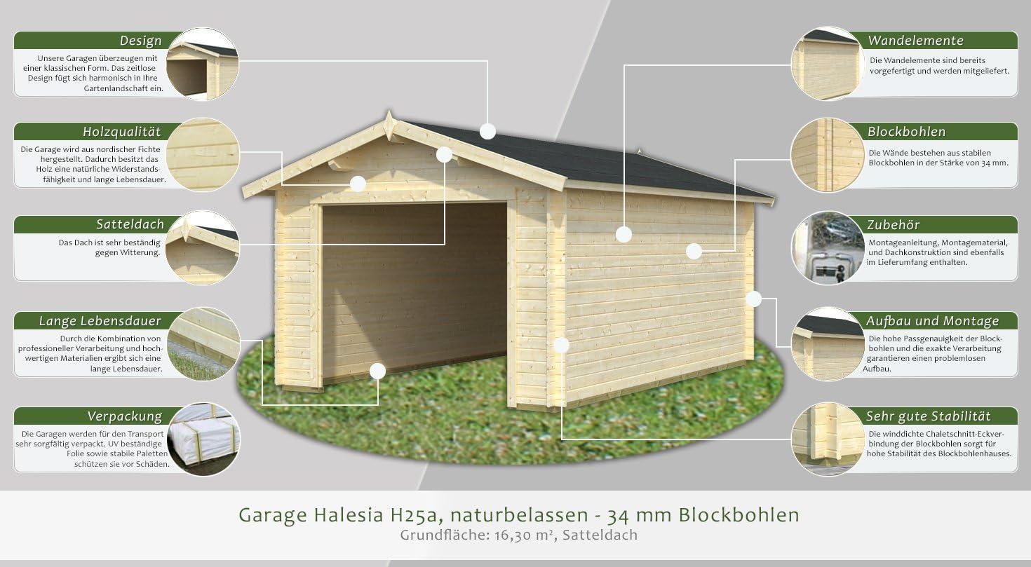 Garaje halesia H25a natural - 34 mm troncos, huella: 16,30 M² ...