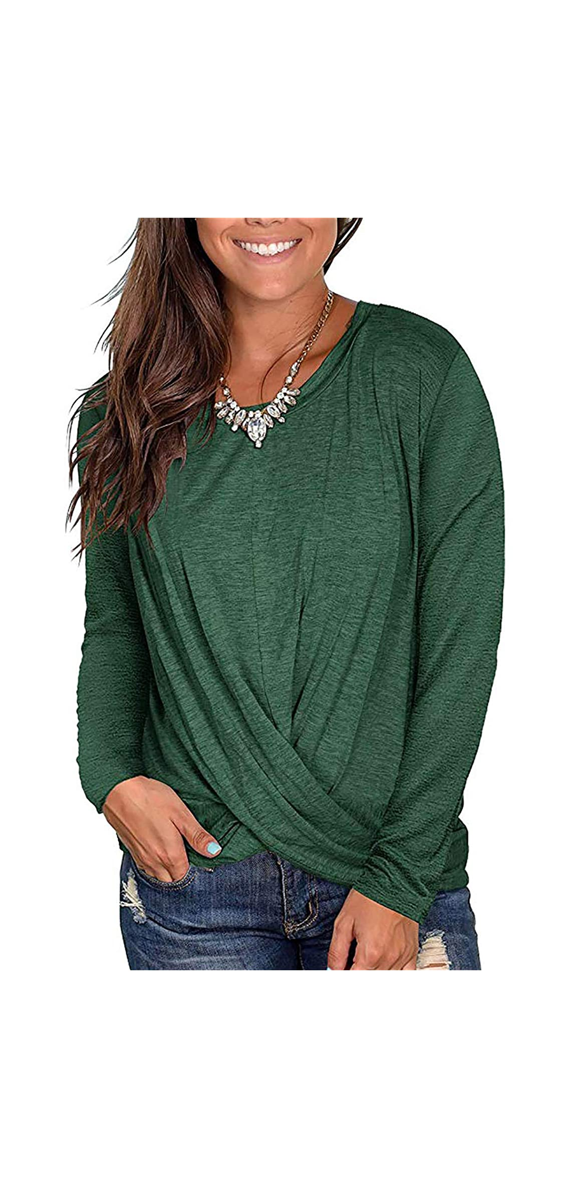 Women's Soft Tops Long Sleeve Round Neck T-shirts Front