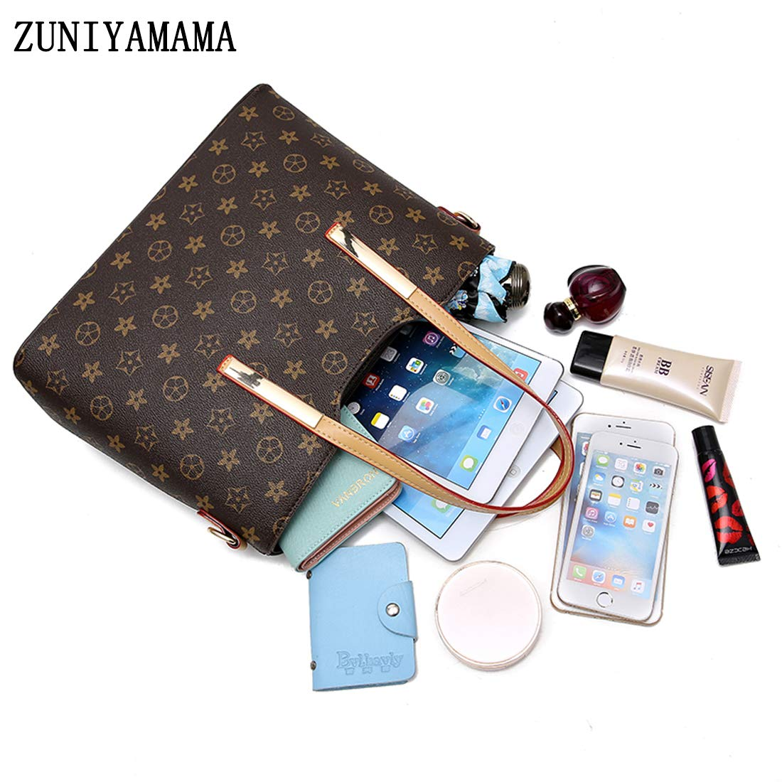 ZUNIYAMAMA Waterproof Scratch Resistant Synthetic Leather Lady Top Handle Handbags Set for Women Purses Shoulder Bag Fashion Tote Bags Casual Daypack by ZUNIYAMAMA (Image #6)
