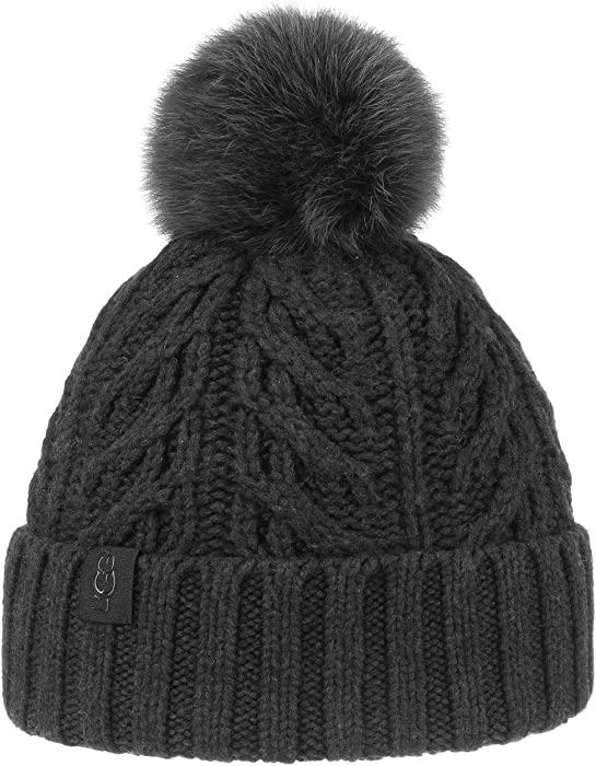 4be7ddd1b4157 UGG Women s Cable Knit Pom Beanie Black One Size at Amazon Women s ...