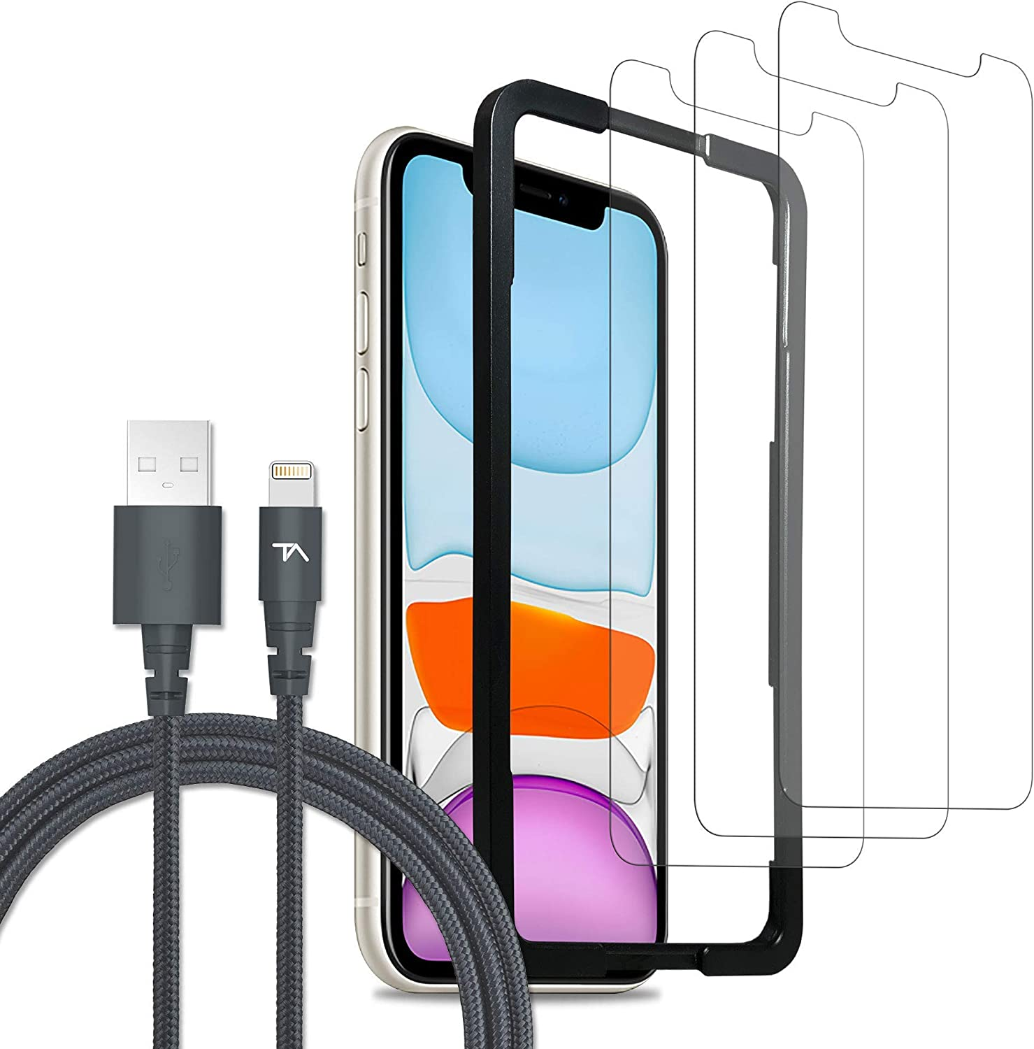 Tech Armor Ultimate Protection Bundle for Apple iPhone 11 / iPhone Xr - Apple MFi Certified Lightning Cable [2 FT, Space Gray] and Ballistic Glass Screen Protector [3-Pack] with Easy Installation Tray