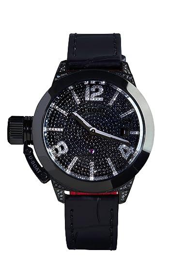 U-Boat Classico 40 IPB Pave Diamond Reloj Automático de Mujer con Negro Esfera analógica Pantalla y Correa Color Negro 6978.0: Amazon.es: Relojes