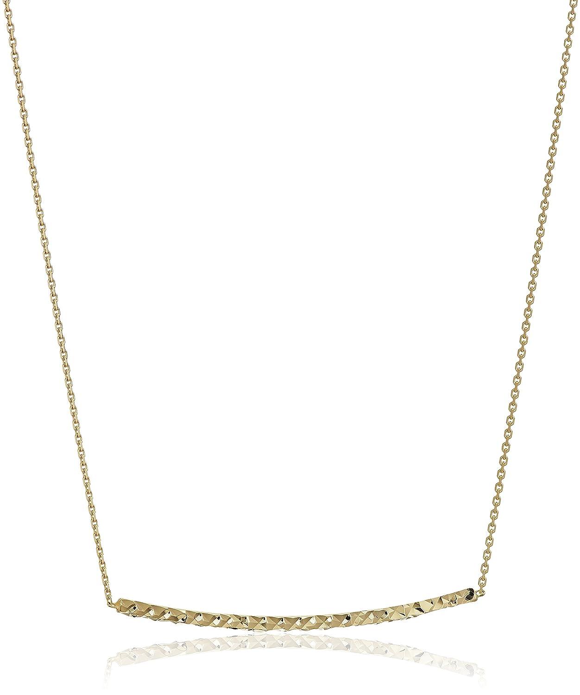 1a82f5e378bab Amazon.com: 14k Yellow Diamond Cut Bar Necklace, Adjustable 16