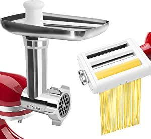 Metal Food Grinder Attachment and and Pasta Maker Attachment for KitchenAid Stand Mixers