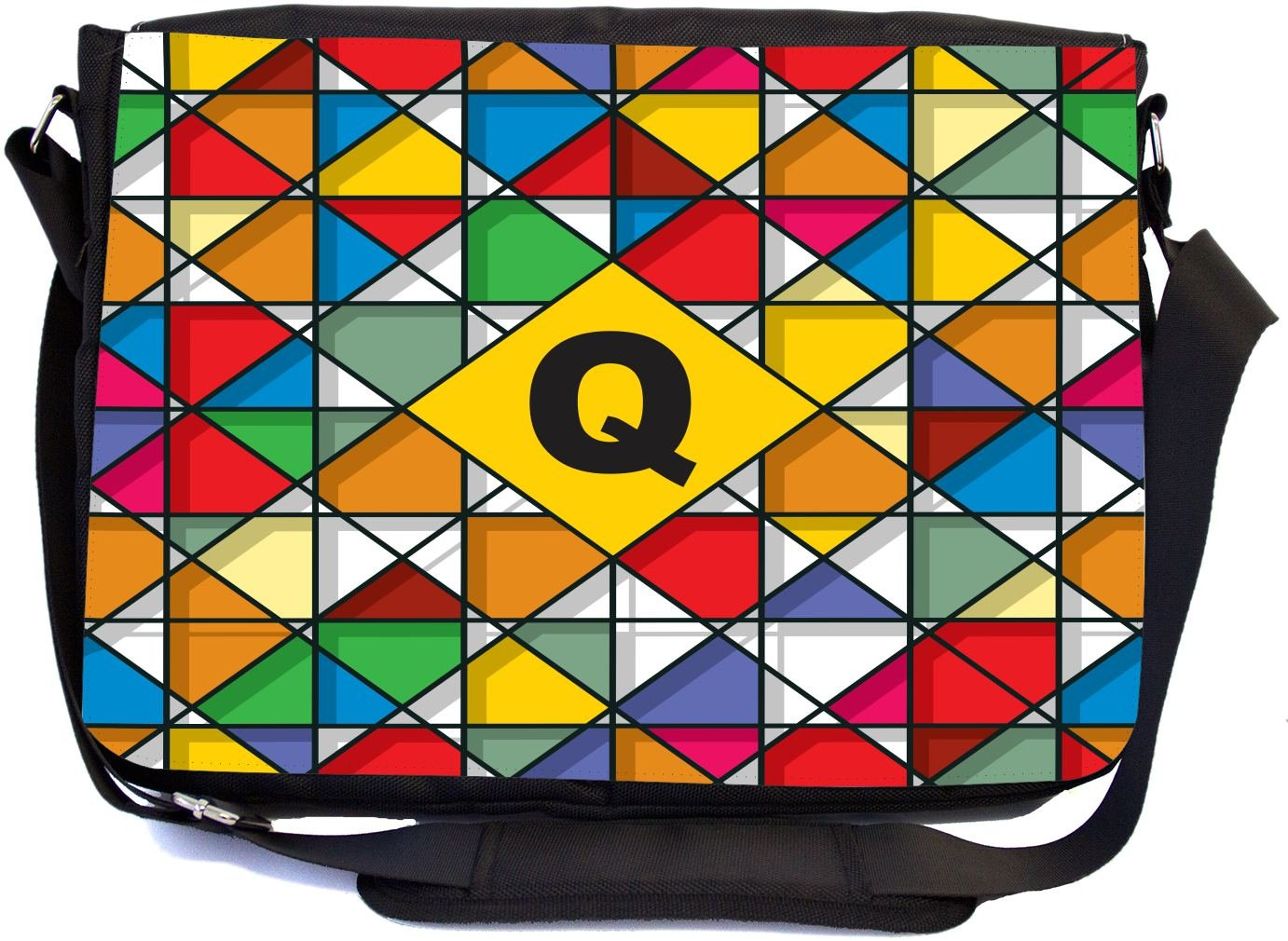 Rikki Knight Letter Q Monogram Vibrant Colors Stained Glass Design Design Combo Multifunction Messenger Laptop Bag - with Padded Insert for School or Work - Includes Wristlet & Mirror