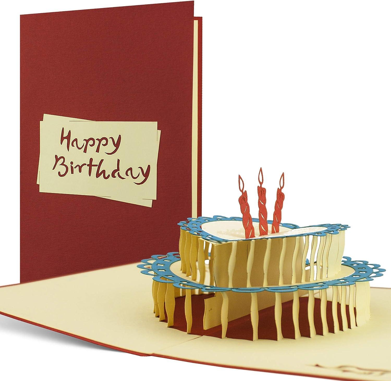 Tarjeta de felicitación para cumpleaños 30 40 50 y 60 años, hecho a mano disegno 3D desplecable con torta y texto en inglés, G06