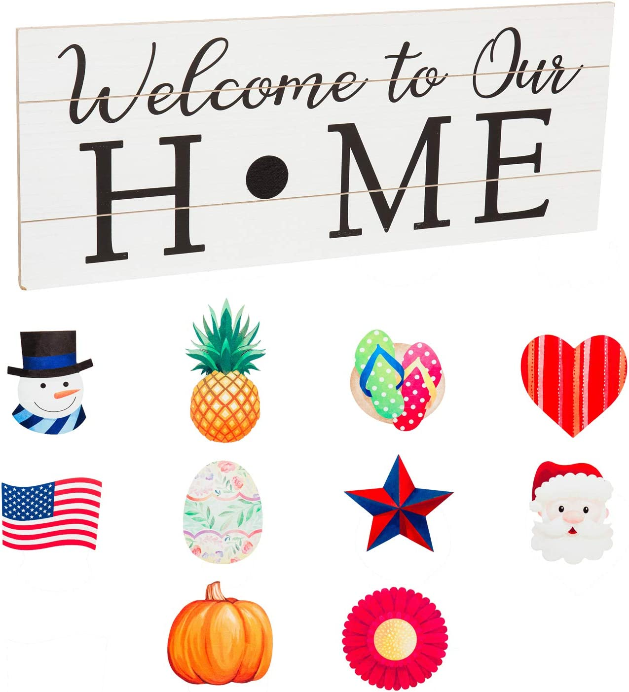 Welcome to Our Home Interchangeable Wood Sign - 28 x 1 x 11 Inches