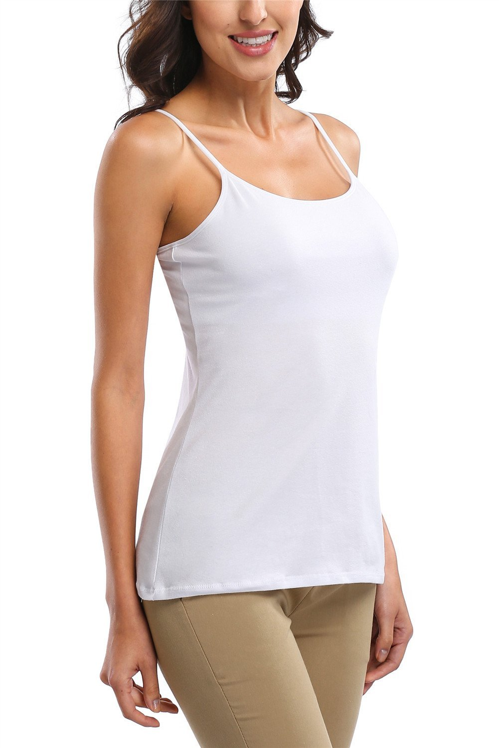 ALove Women Soft Camisoles Basic Cami Tops Shelf Bra Casual Tank Tops 2 Pack Small by ALove (Image #2)