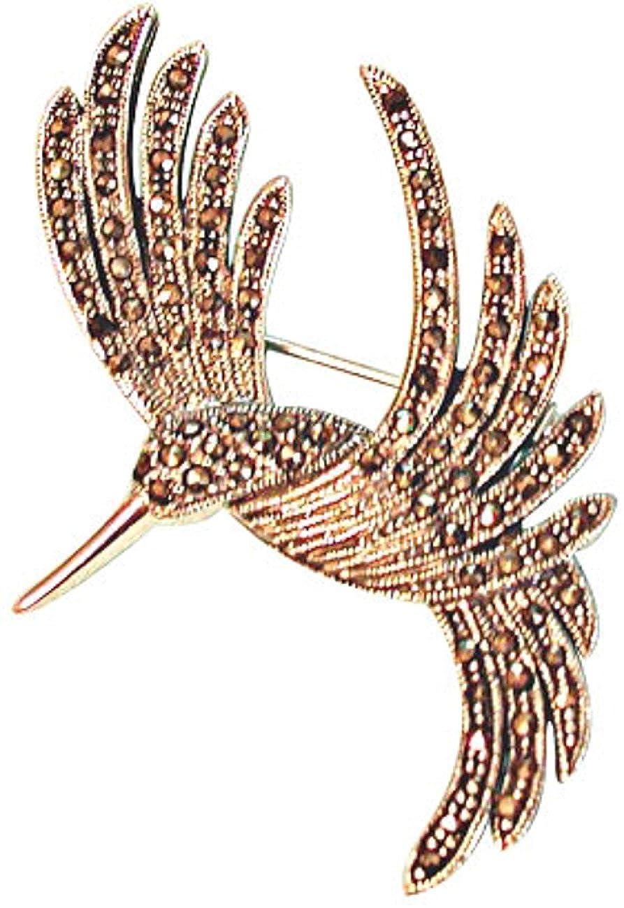 Sterling Silver Marcasite Flying Hummingbird Brooch Pin