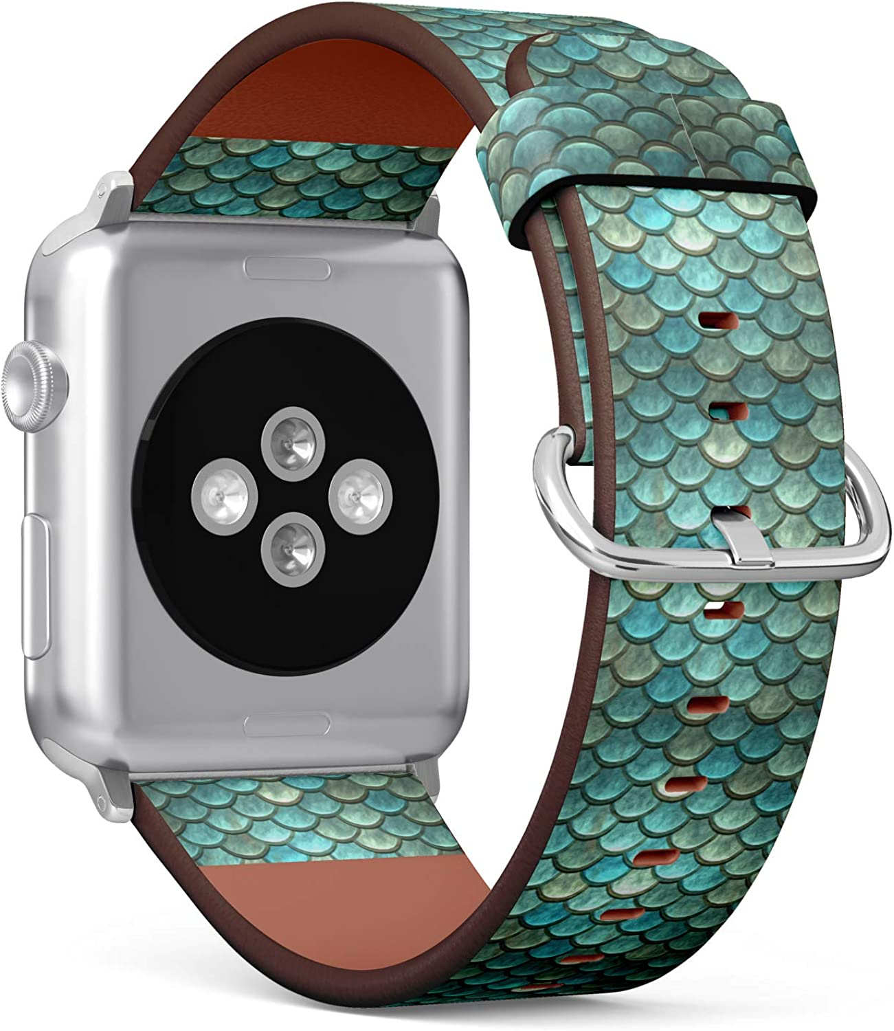 (Fantastic Mermaid Scale Pattern) Patterned Leather Wristband Strap for Apple Watch Series 4/3/2/1 gen,Replacement for iWatch 38mm / 40mm Bands