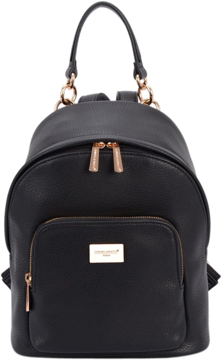 David Jones - Bolso Mochila Mujer Pequeña - Morral Cuero Piel PU Suave - Backpack Daypack Casual Mini Señora Niña - Bolsos de Mano Hombro Viaje Escolar Universidad Colegio Ocio Elegante Moda - Negro