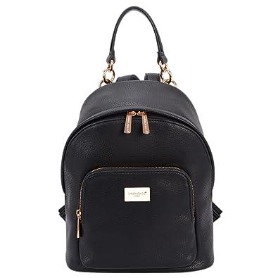 6a120a18a8 Amazon.com  DAVID - JONES INTERNATIONAL Womens Black Vegan Leather Backpack  Purse Top Handle Back Packs for Teens Girls  Shoes