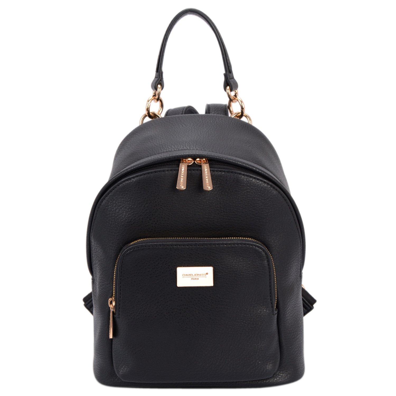 DAVID - JONES INTERNATIONAL Womens Black Vegan Leather Backpack Purse Top Handle Back Packs for Teens Girls