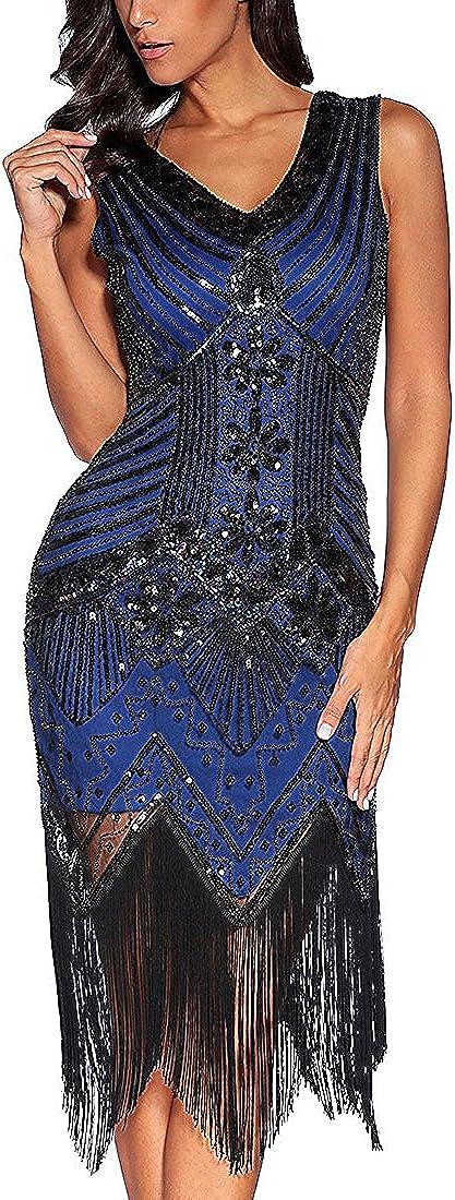 TALLA L. Flapper vestidos de mujer de los años 20 con cuello en V con cuentas de flecos Great Gatsby Dress Azul Real L
