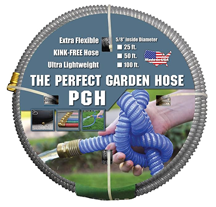 """Tuff-Guard The Perfect Garden Hose, Kink Proof Garden Hose Assembly, Grey, 5/8"""" Male x Female GHT Connection, 5/8"""" ID, 50 Foot Length"""