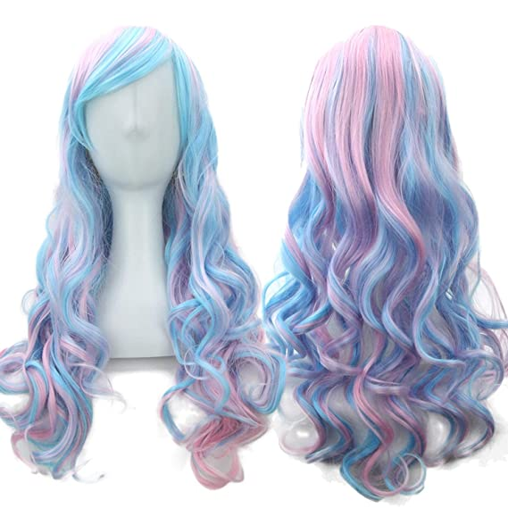 Amazon.com : 70cm Long Women Hair Ombre Color High Temperature Fiber Wigs Pink Blue Synthetic Hair Wig Peruca Pelucas, T4/27/30, 28inches : Beauty