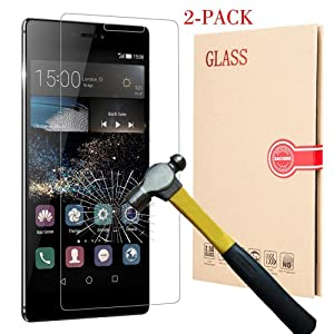 BACAMA Tempered Glass Screen Protector for Huawei P8 [2-Pack] HD Clear 99% Touch Screen Responsive (NOT for P8 Lite)