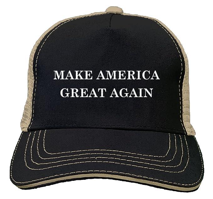2965f419 Tcombo Make America Great Again Twill Soft Mesh Trucker Hat (Black/Khaki)