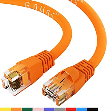 GOWOS 50-Pack Cat5e Crossover Ethernet Cable RJ45 10Gbps High Speed LAN Internet Cord Available in 28 Lengths and 10 Colors Computer Network Cable with Snagless Connector UTP 14 Feet - Orange