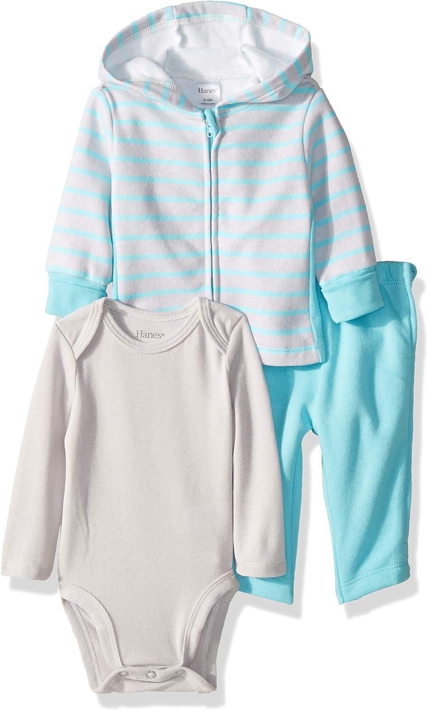 Hanes Ultimate Baby Zippin Zip Pant with Bodysuit and Fleece Hoodie