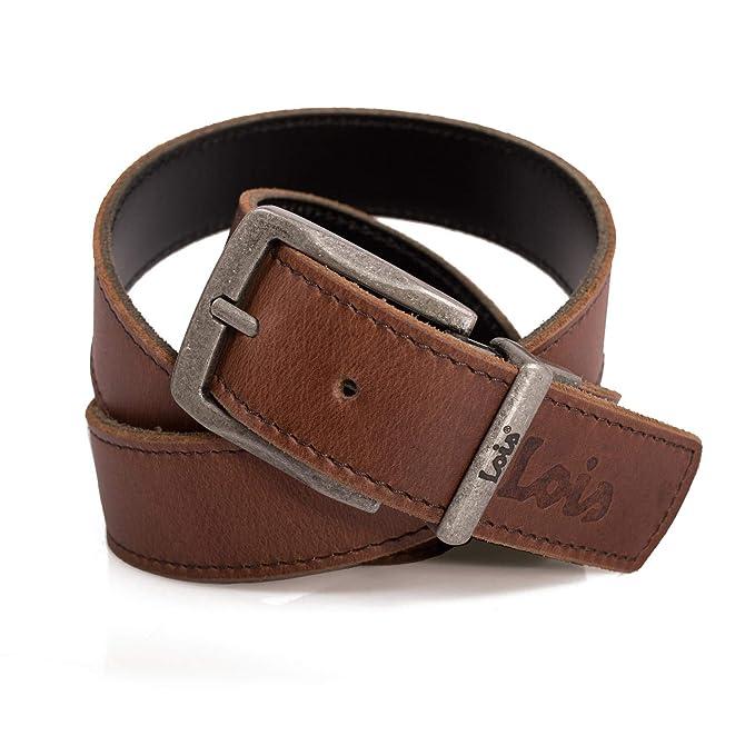 Lois - Cinturón para Hombre Reversible de Cuero Piel con Hebilla Metálica. Vaqueros Chinos Traje. Resistente Flexible Duradero. Ideal para Regalo ...