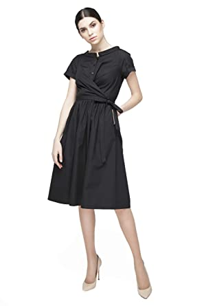 3d09401853a KRISSTEL Women s Elegant Modest Short Sleeve A Line Shirt Faux Wrap Belted  Dress with Pockets (