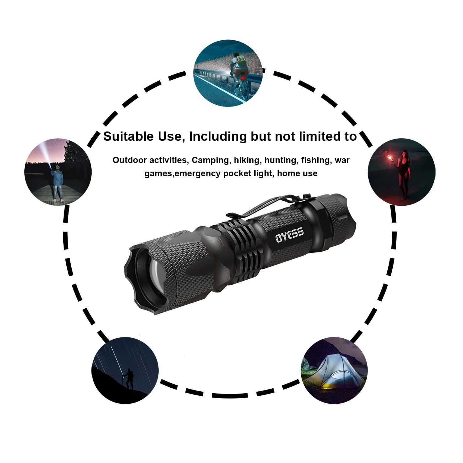 1000 Lumen Output Portable LED Flashlight with 5 Beam Modes /& Adjustable Focus Comes with Rechargeable 18650 Battery /& Charger OYESS Tactical Flashlight- Super Bright