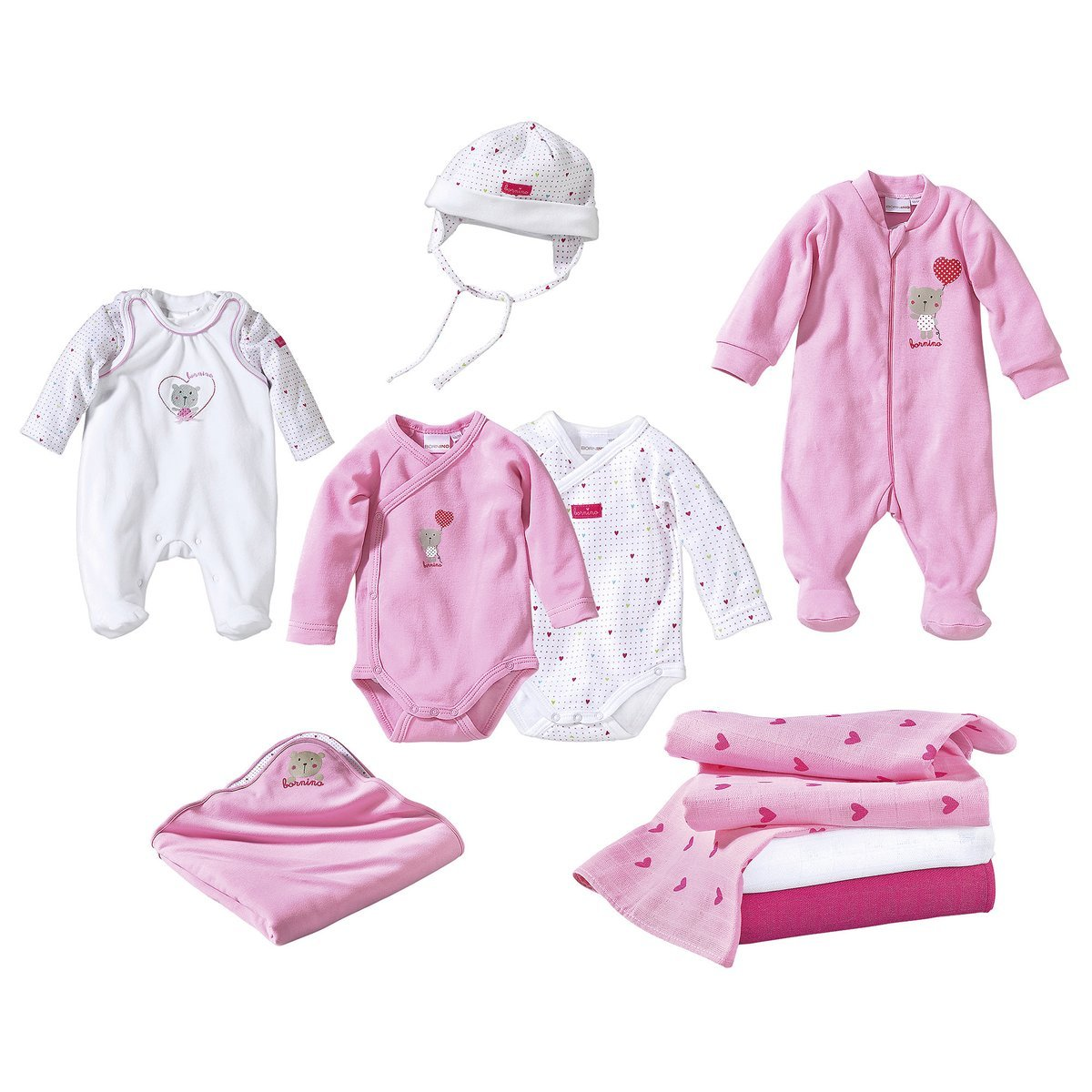 Bornino Baby Erstausstattungsset 10-tlg. / Babybekleidung Mädchen/Geschenk Geburt/rosa/weiß