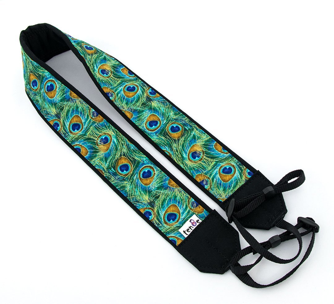 Peacock Feathers Camera Strap Teal Green Blue Gold 37