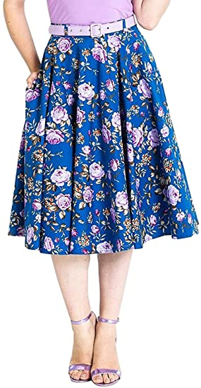 Hell Bunny Violeta Floral 50s Falda Circular: Amazon.es: Ropa y ...