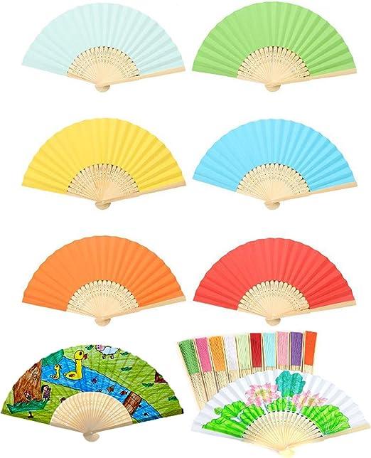 Conjunto de 6 pintura en blanco color sólido papel plegado ventilador de bambú Mano plegable Ventilador DIY niños pintura dibujo Ventilador: Amazon.es: Hogar