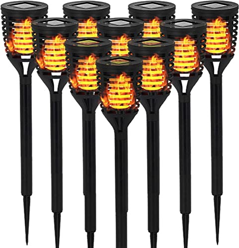 10 PK Mini Solar Tiki Torches with Dancing Flickering Flame Lights Outdoor – Solar Pathway Decorative Lights Waterproof Auto On Off Dusk to Dawn for Garden, Backyard, Patio, Driveway