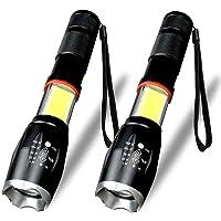 Karrong LED Taschenlampe, 6 Modi Wasserdicht Superhelle 1600 Lumen COB Arbeit Taschenlampe LED-Taschenlampe Zoombar Einstellbar Fokus, Tragbar Taschenlampen für Outdoor Camping Wandern(2 Stück)