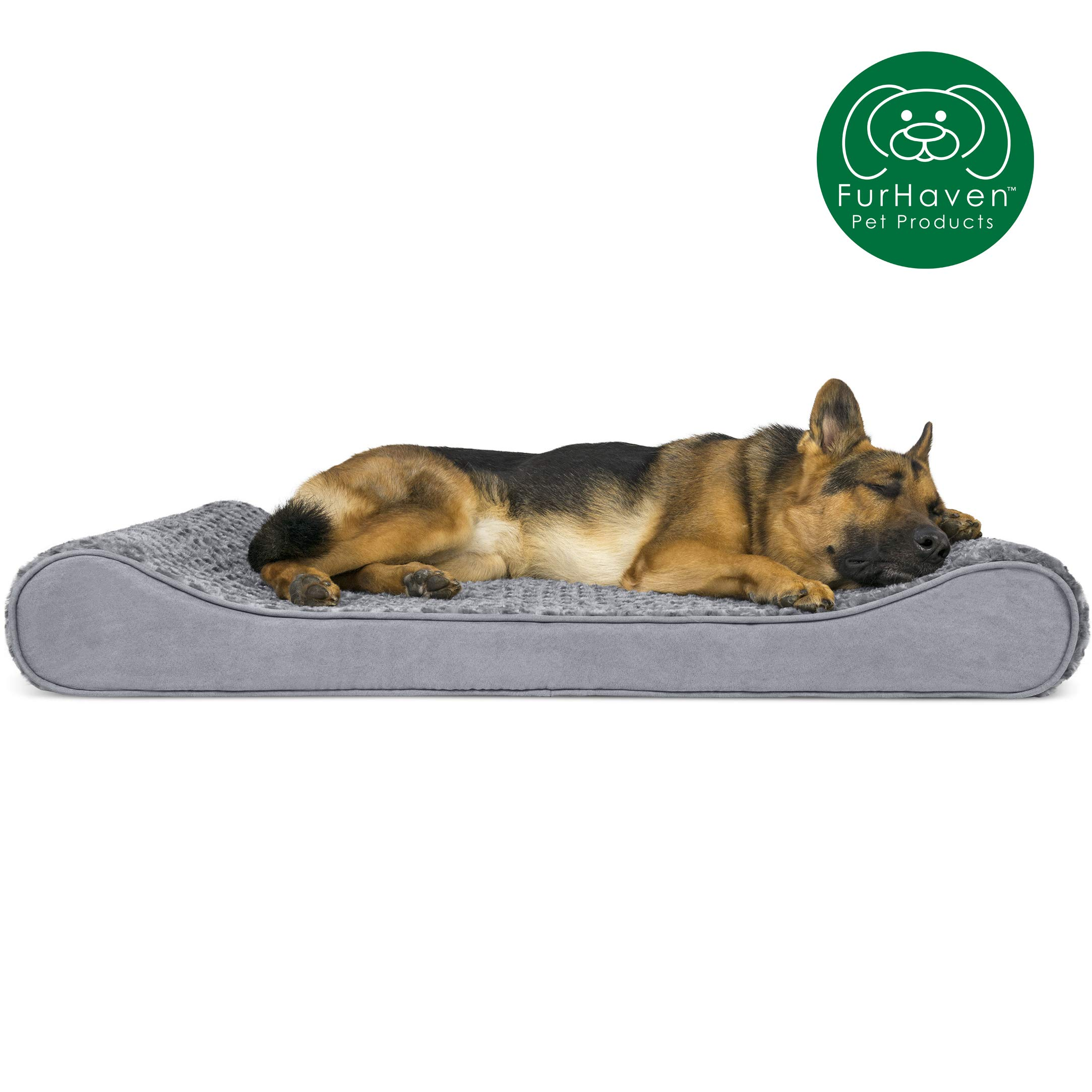Furhaven Pet Dog Bed | Orthopedic Ultra Plush Faux Fur Ergonomic Luxe Lounger Cradle Mattress Contour Pet Bed w/ Removable Cover for Dogs & Cats, Gray, Jumbo by Furhaven