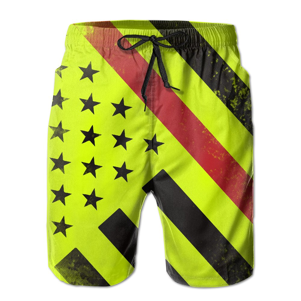 35285a943e ZQ-SOUTH Men's Firefighter Thin Red Line Flag Quick Dry Summer Beach  Surfing Board Shorts